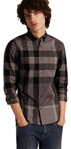 Burberry Mens Classic Check Shirt Button Down Shirt Charcoal