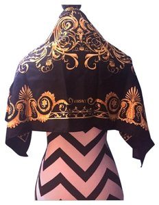 Versace Versace Black Gold Square Silk Scarf
