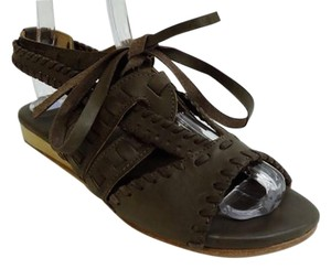 Fiel Leather Wedge Khaki Green Gladiator Brown/green Sandals