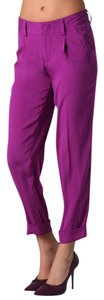 Alice + Olivia Pleated Cropped Silk Cuffed Dressy Trouser Pants Magenta