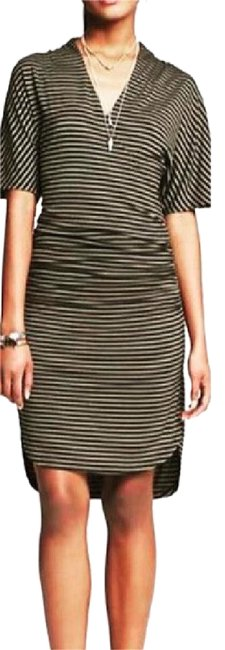 Item - Green and Black Sleeves Stripes Mid-length Short Casual Dress Size 12 (L)
