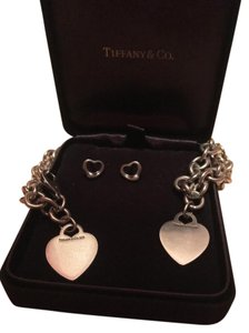 Tiffany & Co. Tiffany & Co. Heart Tag Necklace and Bracelet Set with Stud Earrings