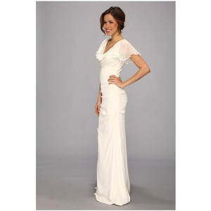 Nicole Miller Nicole Miller Silk Stretch Flutter Sleeve Bridal Gown Wedding Dress