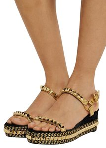 Christian Louboutin Gold Studded Black Suede Sandals