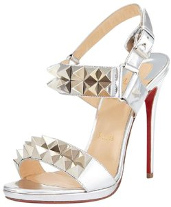 Christian Louboutin Silver Spiked Sandals