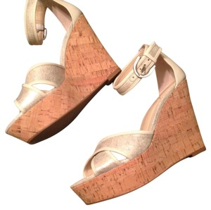 Franco Sarto silver and cream Wedges