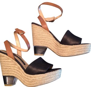 French Connection black, tan Wedges