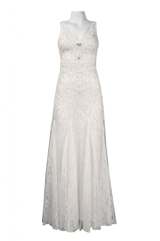 Sue Wong White N4164 V-neck Gown with Lace Godets Formal Dress Size ...
