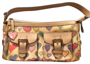 Dooney & Bourke Satchel in White with multi hearts