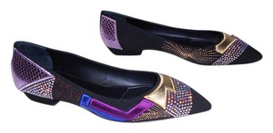 Giuseppe Zanotti Swarovski Crystals Metallic Leather Silk Patches Reptile Embossed Made In Italy Black Flats