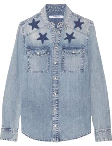 Givenchy Star New Denim Label Button Down Shirt Blue