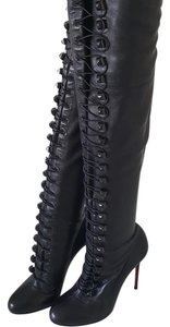 Christian Louboutin Over The Knee Leather Black Boots