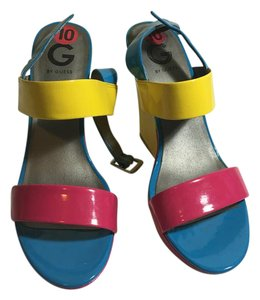 Guess Faux Patent Pink Blue Yellow Wedges