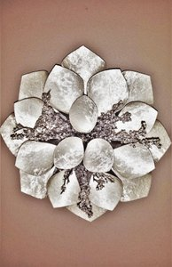 White & Silver Embellished Wall Flower Decor