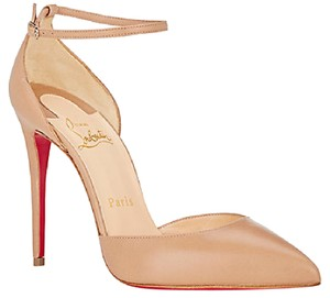 Christian Louboutin Beige Leather Ankle Strap Pumps
