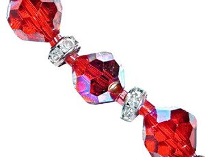 Other AB SIAM RED FACETED AUSTRIAN CRYSTAL NECKLACE W/RONDELLS GSILVER