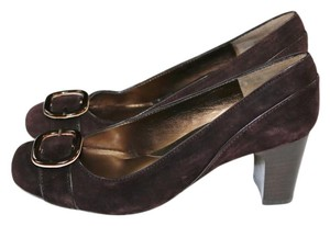 Bandolino Suede Brown Buckle Nib Brown Suede Pumps