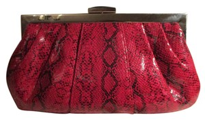 Kate Landry Man Made red & black snakeskin print Clutch