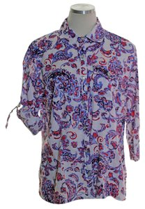 Karen Scott Button Down Shirt Purple Red