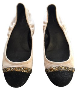 Calvin Klein beige with black toe accents and rhinestones Flats