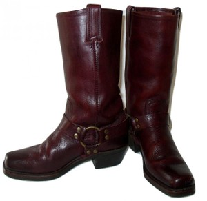 Frye Vintage Black Motorcycle Oxblood Boots