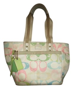 Coach Tote in Pastel Pink, Blue, Green and Ivory