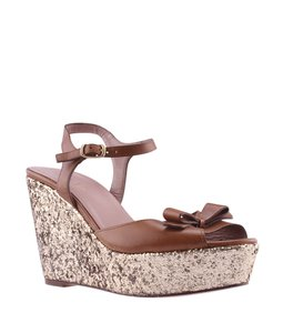 RED Valentino Valentino Sparkle Brown Wedges