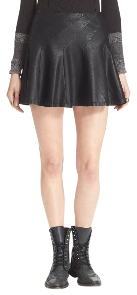 9a213c0a54 Free People Black Girl Vegan Faux Leather About A Flounced Skirt ...