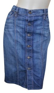 7 For All Mankind 7fam Denim Skirt Blue