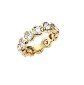 Michael Kors Michael Kors MKJ4785 Women's Park Ave Circles Crystal Gold Ring SZ 6