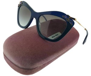 Miu Miu MU03PS-0AX0A7 Women's Blue Frame Grey Lens Sunglasses