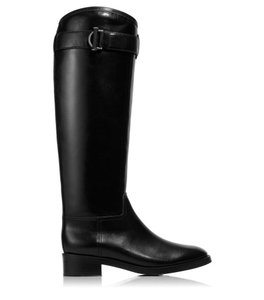 Tory Burch Leather Boot Riding Flat Tall Black Boots