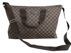 Gucci Canvas Leather Tote Brown Messenger Bag