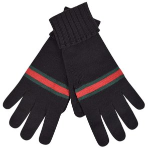 Gucci Gucci Men's 294732 BLACK Green Red Web Stripe Wool Gloves Mittens M