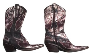 Donald J. Pliner pewter base with beige and burgundy embroidery. Boots