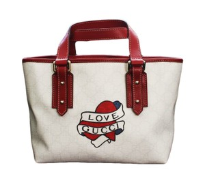 Gucci Heart Tattoo Top Tote in White