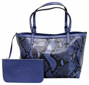 Gucci Python Craft Tote in Blue