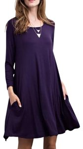 Southern Girl Fashion short dress Purple Sweater Mini Swing Tunic Bohemian Festival Winter Fall Spring Summer Draped on Tradesy