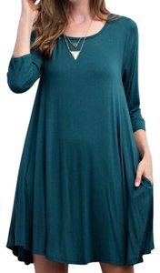 Southern Girl Fashion short dress Teal Sweater Mini Swing Tunic Bohemian Festival Winter Fall Spring Summer Draped on Tradesy