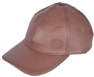 Gucci Gucci Men's 337798 Interlocking GG Brown Calf Leather Baseball Cap S