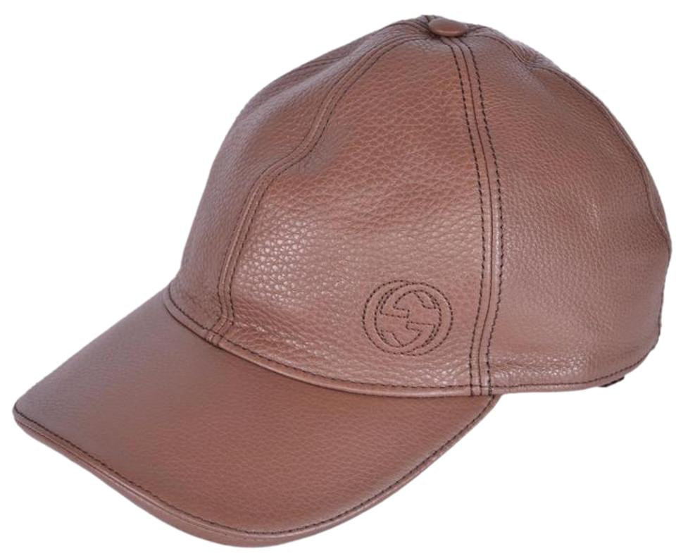 02943a41f79 Gucci Brown Men s 337798 Interlocking Gg Calf Leather Baseball Cap Xs Hat