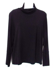 LUISA CERANO Turtleneck Long Sleeve Knit Top Black