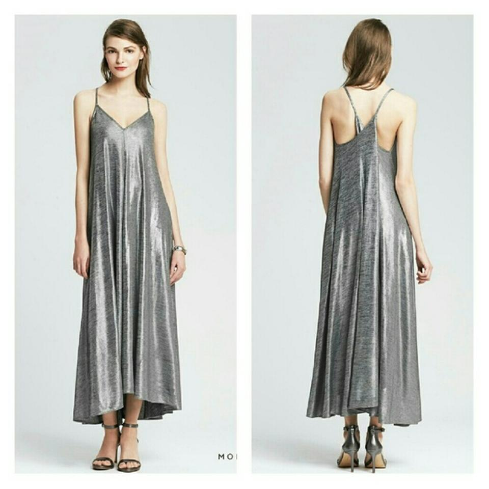 0e632887f Banana Republic Silver Monogram Trapeze Maxi Long Formal Dress Size ...