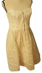 Betsey Johnson Embroidered Gold Party Dress