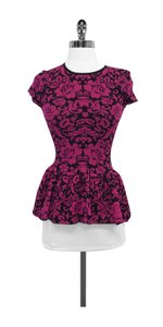 Torn by Ronny Kobo Floral Peplum Top Black & Fuchsia