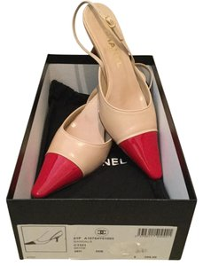 Chanel $395 France Patent Leather Cap Toe + Box & 1 Dustbag 36.5 Beige Red Beige, Red Sandals