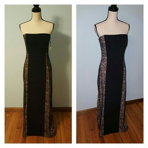 Calvin Klein Ruched Formal Lace Panel Maxi Dress