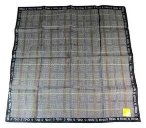 Fendi Black, Gray & Gold, 100% Silk, Scarf Foulard