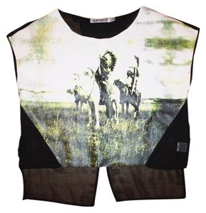 Rehab Indian Faux Leather Relaxed New No Tags Top MULTI