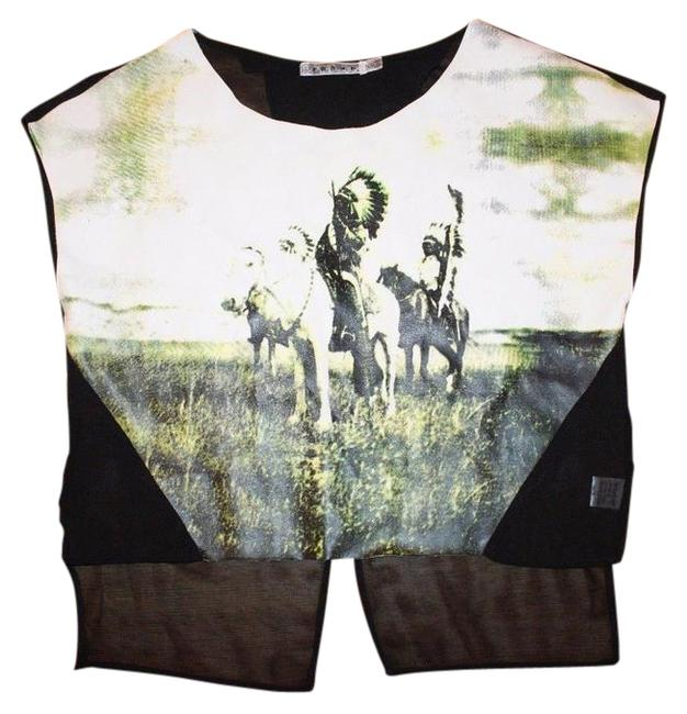Item - Multicolor New Faux Leather Indian Print Blouse Size 6 (S)